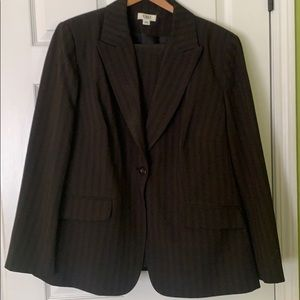 Black with tan pinstripe suit